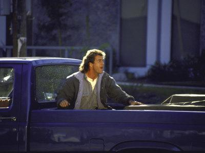 """Actor Mel Gibson Shooting Scene from Film """"Lethal Weapon 3"""""""