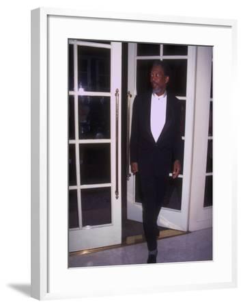 Actor Morgan Freeman Standing Near Doorway at Rita Moreno Tribute Held at Beverly Wilshire Hotel