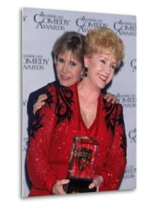 Actress Carrie Fisher Hugging Mother, Entertainer Debbi Reynolds, at American Comedy Awards by Mirek Towski