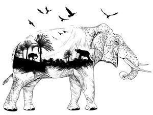 Double Exposure - Elephant by Mirifada