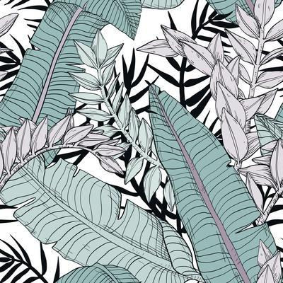 Leaf Pattern with Tropical Plants
