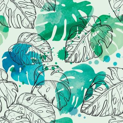 Tropical Watercolor Leaf Pattern