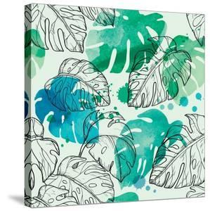 Tropical Watercolor Leaf Pattern by Mirifada
