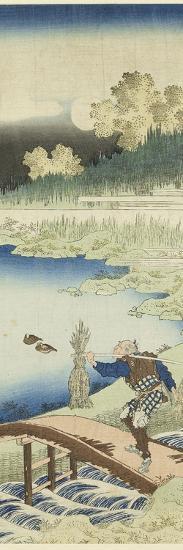Miroir des vers chinois et japonais : Tokusa gari (paysan portant des joncs)-Katsushika Hokusai-Giclee Print
