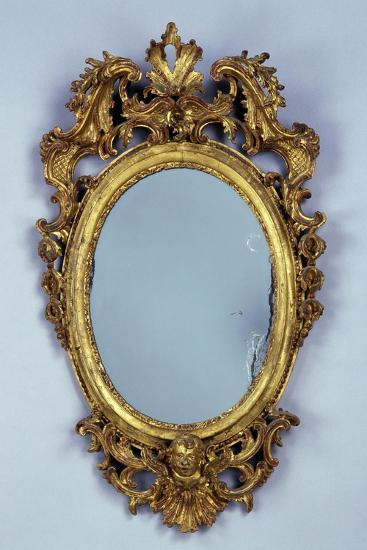 Mirror, Carved and Gilded Wood, Italy--Giclee Print