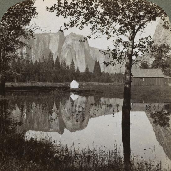 Mirror View of Cathedral Rocks, Yosemite Valley, California, USA, 1902-Underwood & Underwood-Photographic Print