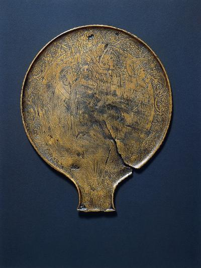 Mirror with Engraving Depicting Minerva Who Comes from the Head of Jupiter.--Giclee Print