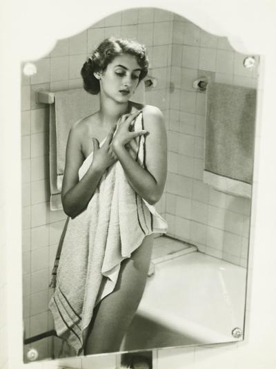 Mirror With Reflection of Woman Covering Herself With Towel in Bathroom-George Marks-Photographic Print