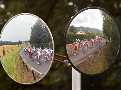 Mirrors at a T-Junction Reflect Riders During the 18th Stage of the Tour De France--Photographic Print