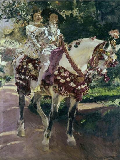 Mis Hijas Elena Y María a Caballo Con Trajes Valencianos De 1808-Joaqu?n Sorolla y Bastida-Giclee Print