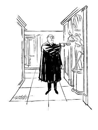 A Judge presses down one of the double scales held by a statue of Justice. - New Yorker Cartoon
