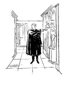 A Judge presses down one of the double scales held by a statue of Justice. - New Yorker Cartoon by Mischa Richter