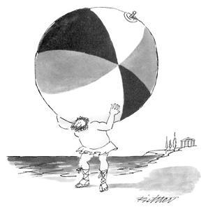 Atlas carries large beachball on his shoulders instead of the world. - New Yorker Cartoon by Mischa Richter