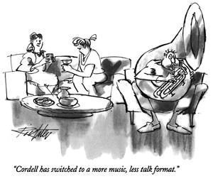 """Cordell has switched to a more music, less talk format."" - New Yorker Cartoon by Mischa Richter"