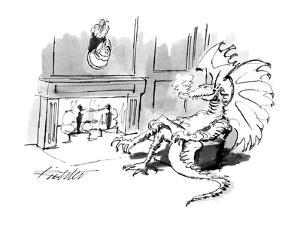 Dragon sitting by the fire with head of knight over the mantle. - New Yorker Cartoon by Mischa Richter