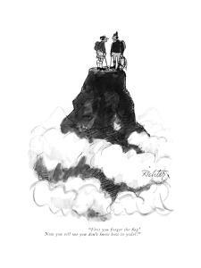 """""""First you forget the ?ag! Now you tell me you don't know how to yodel!"""" - New Yorker Cartoon by Mischa Richter"""