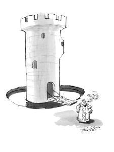 King smoking a cigarette has to exit castle and go beyond moat. - New Yorker Cartoon by Mischa Richter