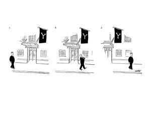 Man passing entrance to Yale Club, removes his hat as a salute. - New Yorker Cartoon by Mischa Richter
