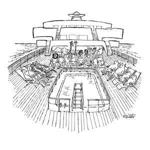 Noah's ark as cruise ship; animals, two by two, seated in deck chairs arou? - New Yorker Cartoon by Mischa Richter