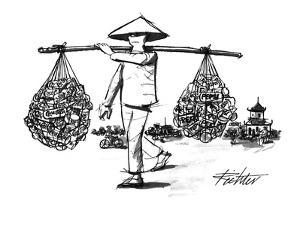 Peasant's load, carried in nets at the ends of a bamboo pole, consists of ? - New Yorker Cartoon by Mischa Richter