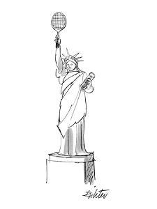 Statue of liberty holds a tennis racket and a can of balls. - New Yorker Cartoon by Mischa Richter
