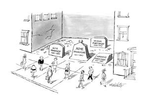 Tombstones fill a gap in a block where a large building once was; the empt? - New Yorker Cartoon by Mischa Richter