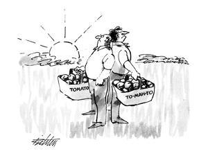 """Two men standing back to back at sunrise, one holding a basket labeled """"To?"""" - New Yorker Cartoon by Mischa Richter"""