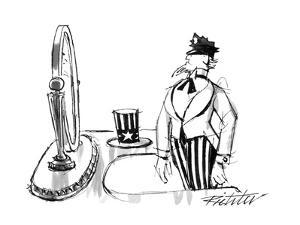 Uncle Sam modeling a policeman's cap in front of a mirror. - New Yorker Cartoon by Mischa Richter