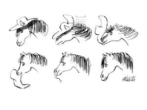 Wind blows hat off of horse's head; horse grabs hat in mouth; eats hat. - New Yorker Cartoon by Mischa Richter