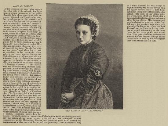 Miss Bateman as Mary Warner--Giclee Print