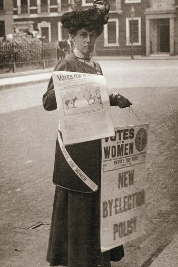 Miss Kelly, a suffragette, selling Votes for Women, July 1911-Unknown-Photographic Print