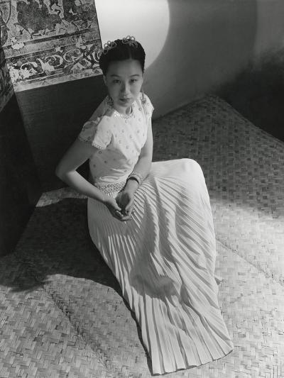 Miss Li Ling-Ai Wearing Pleated Short-Sleeved Evening Dress by Hattie Carnegie--Premium Photographic Print