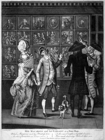 Miss Macaroni and Her Gallant at a Print Shop, 1773-John Raphael Smith-Giclee Print