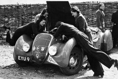 Miss Md Patten Looking at the Engine of a 1938 Peugeot 402 Special Sport, Rac Rally, 1939--Photographic Print