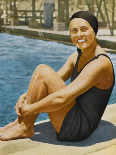 """""""Miss Olympia"""" - Ingeborg Sjoquist, Swedish Swimmer--Photographic Print"""