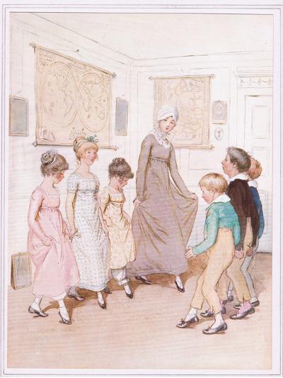 Miss Phoebe Is Giving a Dancing Lesson to Half a Dozen Pupils, and Is Doing Her Very Best-Hugh Thomson-Giclee Print