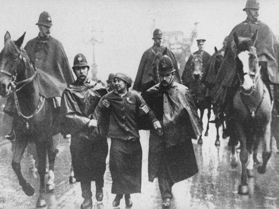 Miss Sylvia Pankhurst Taken Into Custody by Policemen During Women's Suffrage Protest--Premium Photographic Print
