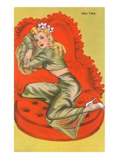 Miss Take, on Red Heart Pillow--Art Print