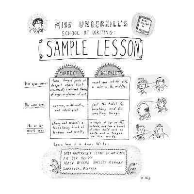 Miss Underhill's School Of Writing Sample Lesson - New Yorker Cartoon-Roz Chast-Premium Giclee Print