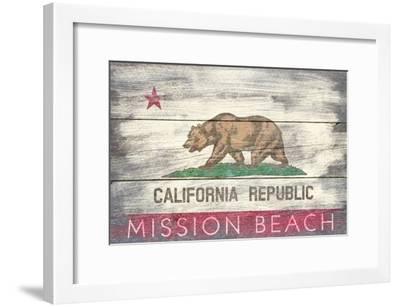 Mission Beach, California - Barnwood State Flag-Lantern Press-Framed Art Print
