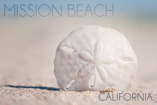 Mission Beach, California - Sand Dollar and Beach-Lantern Press-Art Print
