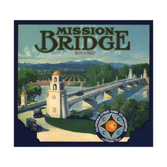 Mission Bridge Brand - Riverside, California - Citrus Crate Label-Lantern Press-Art Print