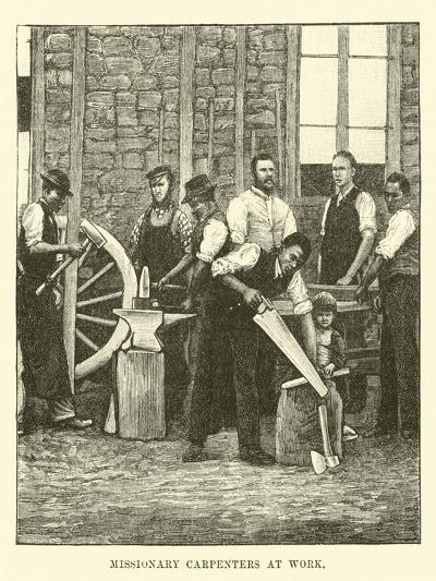 Missionary Carpenters at Work--Giclee Print