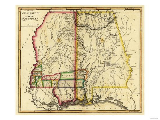 Mississippi and Alabama - Panoramic Map-Lantern Press-Art Print