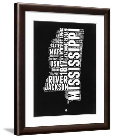 Mississippi Black and White Map-NaxArt-Framed Art Print
