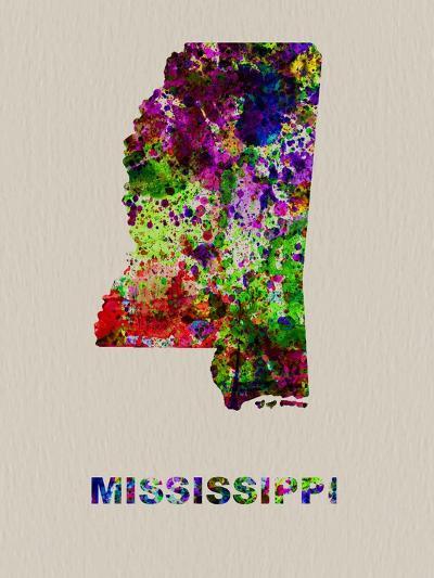 Mississippi Color Splatter Map-NaxArt-Art Print