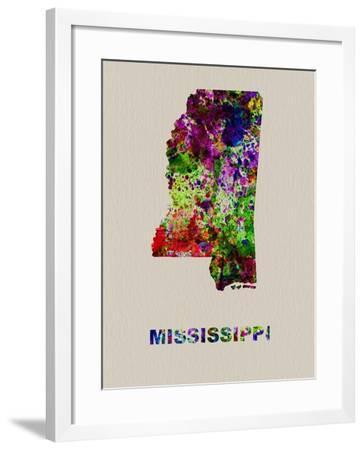 Mississippi Color Splatter Map-NaxArt-Framed Art Print