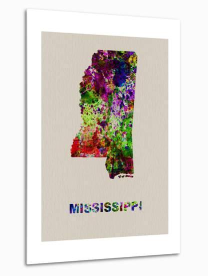 Mississippi Color Splatter Map-NaxArt-Metal Print