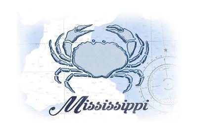 Mississippi - Crab - Blue - Coastal Icon-Lantern Press-Art Print