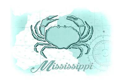 Mississippi - Crab - Teal - Coastal Icon-Lantern Press-Art Print